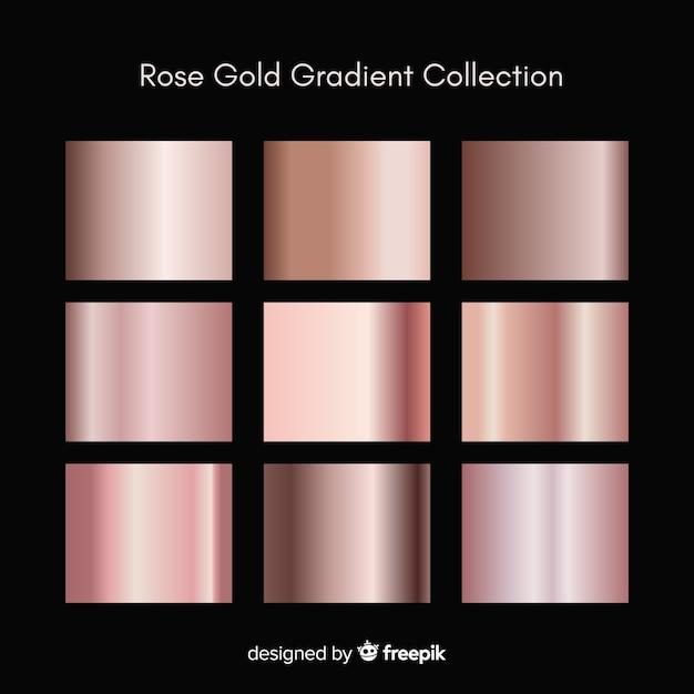 Conjunto de gradiente de ouro rosa textura metálica Vetor grátis