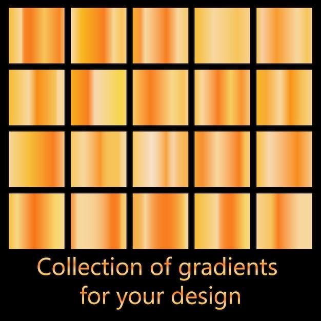 Conjunto de gradientes de metal coloridos. Vetor Premium