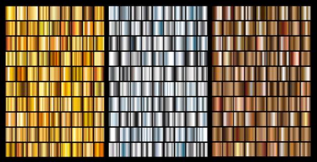 Conjunto de gradientes de ouro, prata e bronze Vetor Premium
