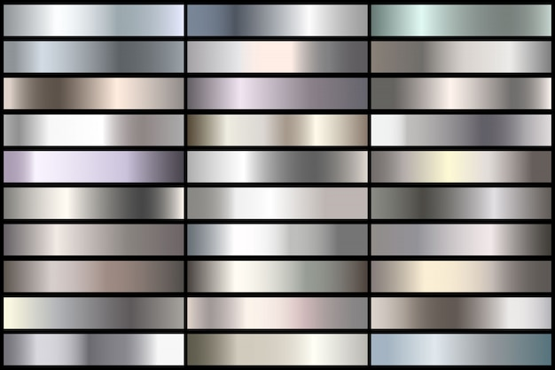 Conjunto de gradientes de prata realistas. coleção do metal do vetor para a beira, frame, projeto da fita. Vetor Premium