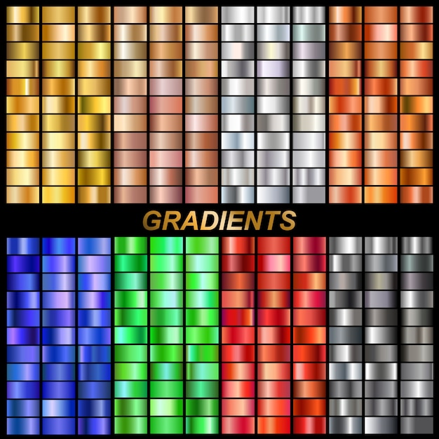Conjunto de gradientes de vetor Vetor Premium