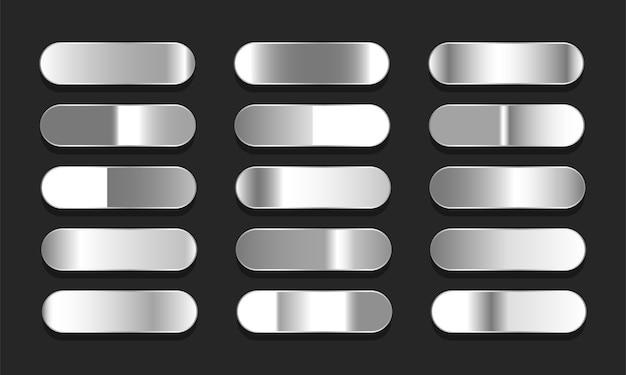 Conjunto de gradientes em prata ou platina. grande coleção de ilustração de gradientes de efeito de metal Vetor Premium