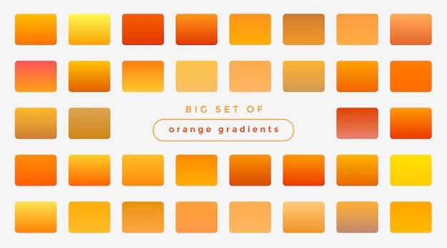 Conjunto de gradientes laranja e amarelos brilhantes Vetor grátis