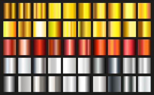 Conjunto de gradientes metálicos. coleção de efeitos de gradiente de ouro, prata e bronze. vetor Vetor Premium