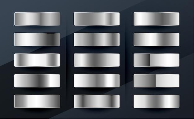 Conjunto de gradientes metálicos de prata, cromo, platina ou alumínio Vetor grátis
