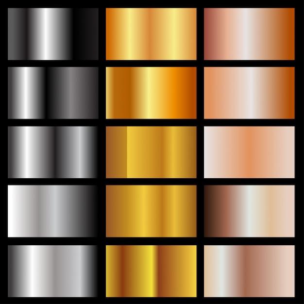 Conjunto de gradientes metálicos Vetor Premium
