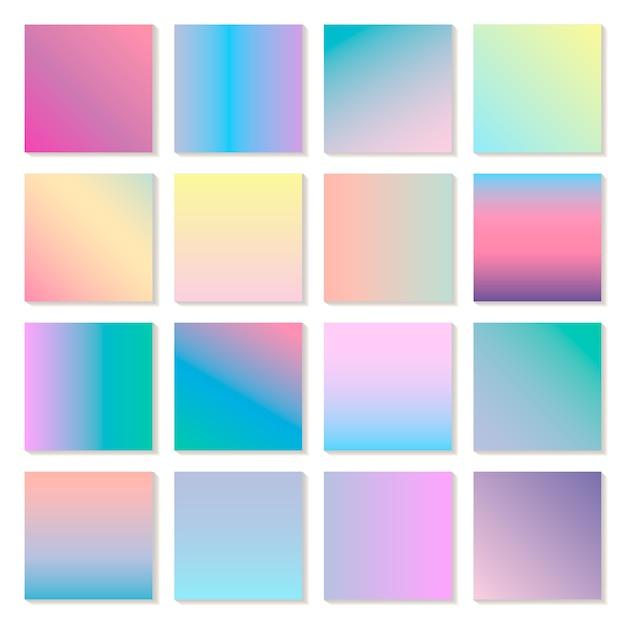 Conjunto de gradientes modernos holográficos, planos de fundo. tela para aplicativo móvel Vetor Premium