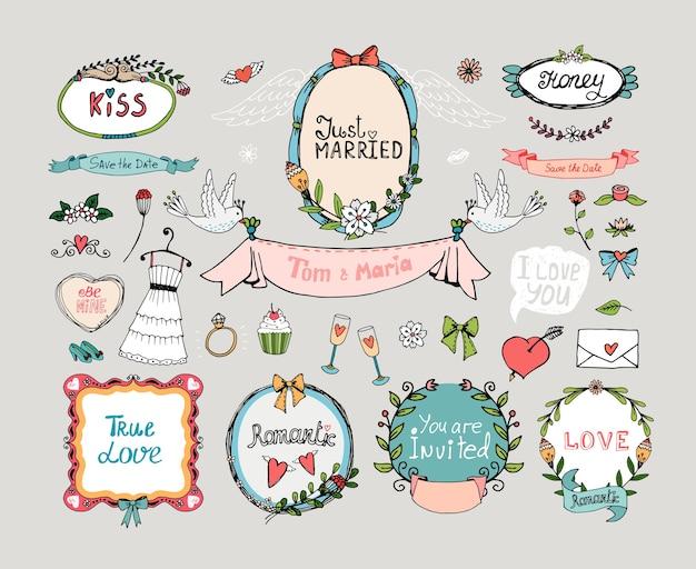 Conjunto de gráfico de casamento. romance e amor, casamento e flores, floral, filigrana. Vetor grátis