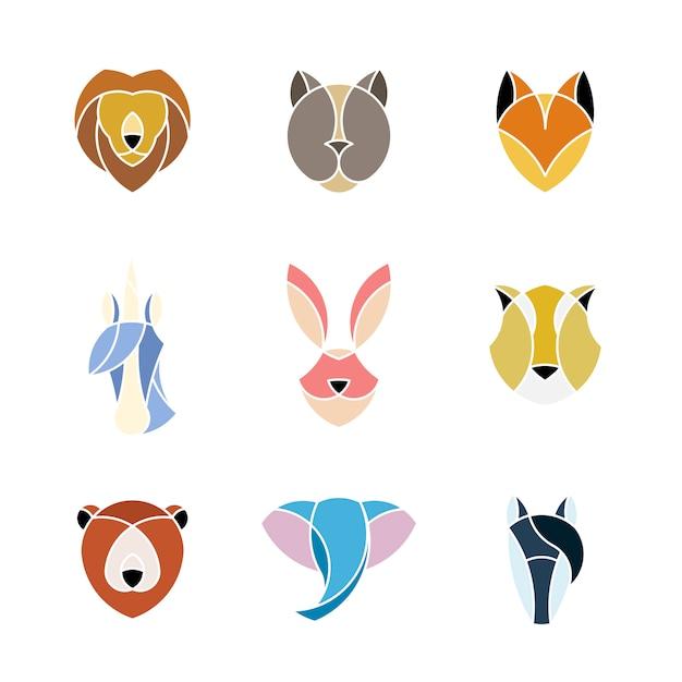Conjunto de gráfico linear de cabeças de animais Vetor grátis