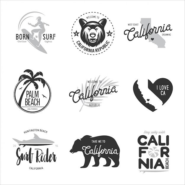 Conjunto de gráficos de estilo de surf da califórnia. Vetor Premium