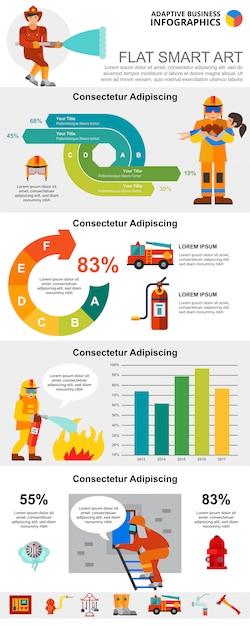 Conjunto de gráficos de infográfico de conceito de serviço e estatísticas de incêndio Vetor grátis