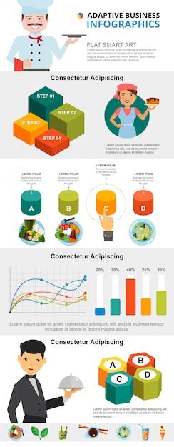 Conjunto de gráficos de infográficos de culinária e marketing Vetor grátis