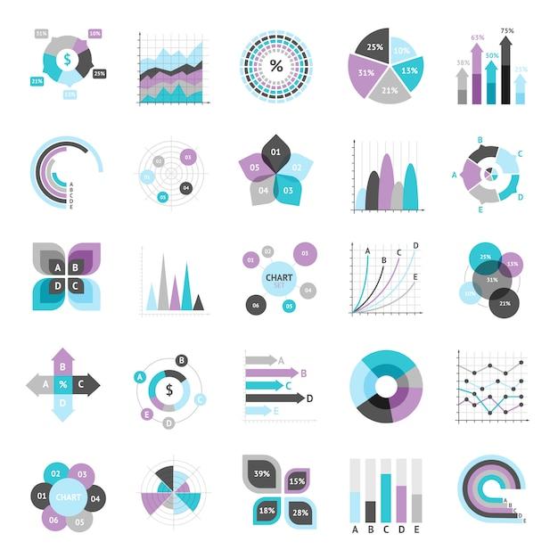 Conjunto de gráficos de negócios Vetor Premium