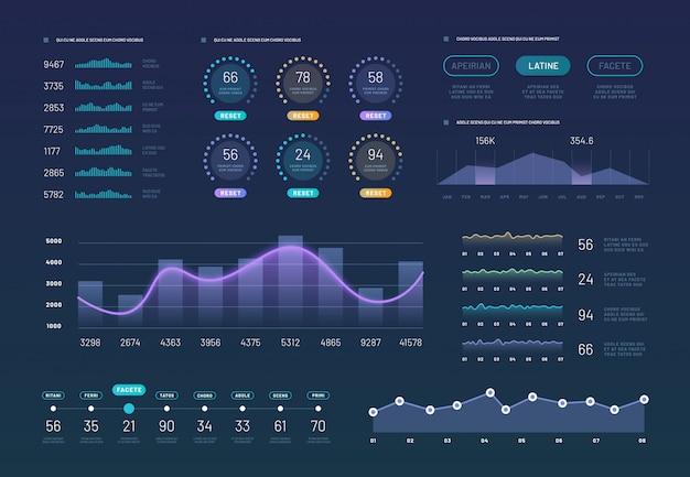Conjunto de gráficos de painel infográfico Vetor Premium