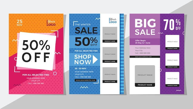 Conjunto de grande venda e desconto de panfleto Vetor Premium