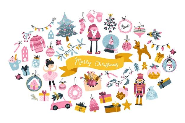 Conjunto de grandes cartões de natal com personagens fofinhos e elementos festivos em forma de oval, em estilo escandinavo infantil desenhado à mão com letras. paleta pastel. Vetor Premium