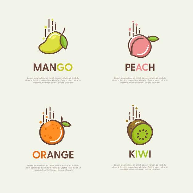 Conjunto de grandes logotipos com frutas decorativas planas Vetor Premium