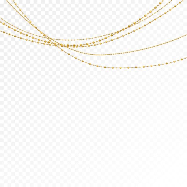 Conjunto de grânulos de ouro e correntes de ouro. Vetor Premium