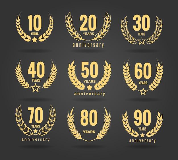 Conjunto de grinalda de aniversário Vetor Premium