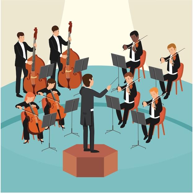 Conjunto de grupo de orquestra com o maestro no palco Vetor Premium