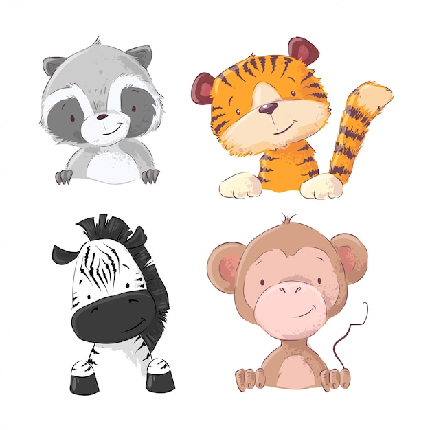 Conjunto de guaxinim de filhote de tigre de macaco zebra. estilo dos desenhos animados. vetor Vetor Premium