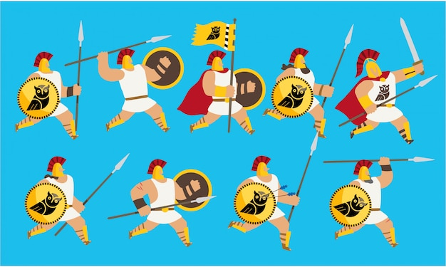 Conjunto de guerreiros do exército grego usando capacetes, escudos e lanças correndo para lutar uma batalha. ilustração editável. Vetor Premium
