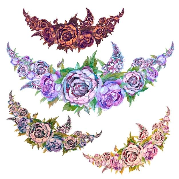 Conjunto de guirlandas de aquarela de flores de peônias de rosas e lilases. Vetor Premium