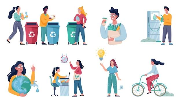 Conjunto de hábitos amigáveis à ecologia. economia de energia e conceito de reciclagem de lixo. estilo de vida ecológico. Vetor Premium