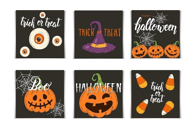 Conjunto de halloween de cartões de convite com ícones de mão desenhada e letras. abóbora jack, chapéu de bruxa, vassoura, chapéu, doces, raízes de doces, caixão, pote com poção no estilo de desenho. Vetor Premium