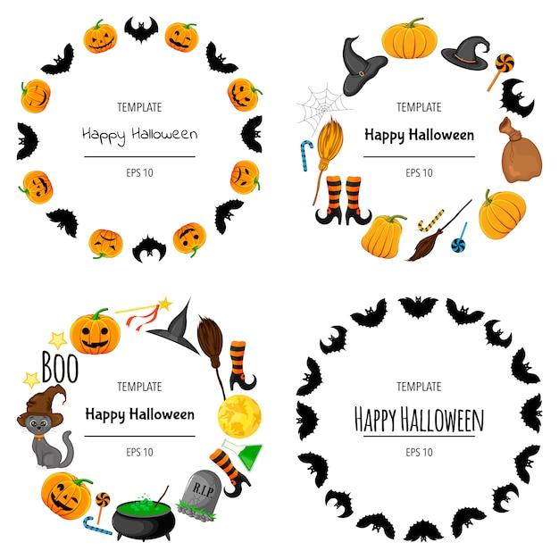 Conjunto de halloween de molduras para o seu texto com atributos tradicionais. estilo de desenho animado. ilustração. Vetor Premium