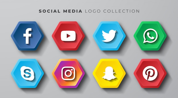 Conjunto de hexágono de logotipo de mídia social Vetor Premium