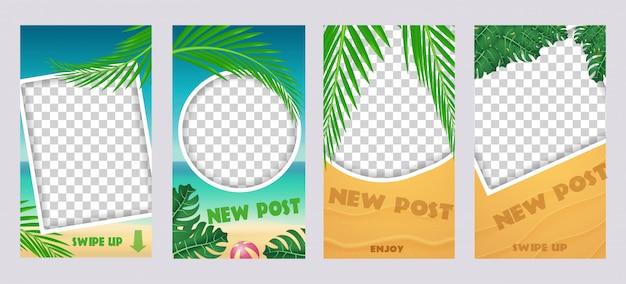 Conjunto de histórias de mídia de socila. modelo para mensagens de viagens de férias de verão. Vetor Premium