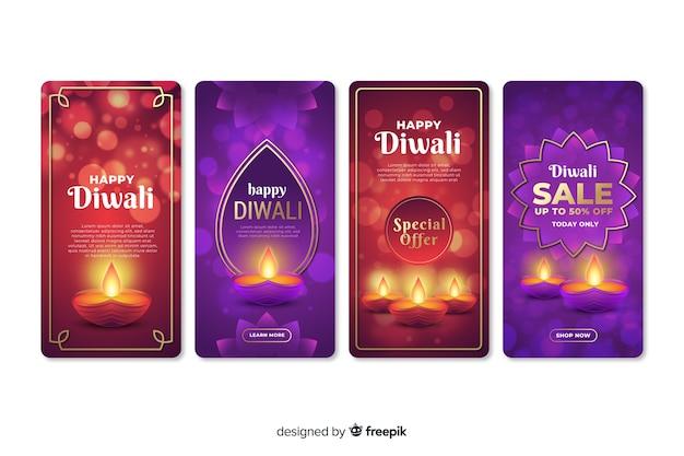 Conjunto de histórias do instagram de diwali Vetor grátis