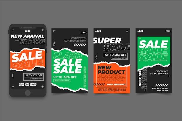 Conjunto de histórias do instagram de venda de ácido Vetor Premium