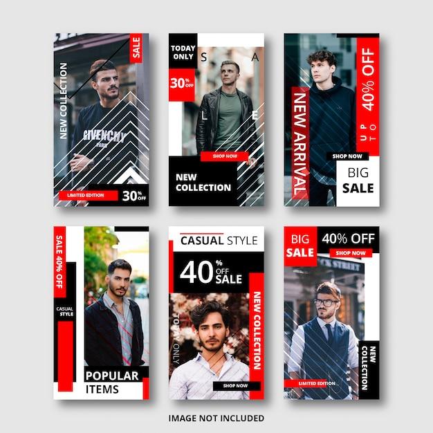 Conjunto de histórias do instagram para banner de venda, tema da moda Vetor Premium