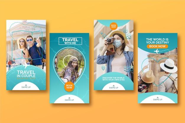 Conjunto de histórias do instagram para venda de viagens Vetor Premium