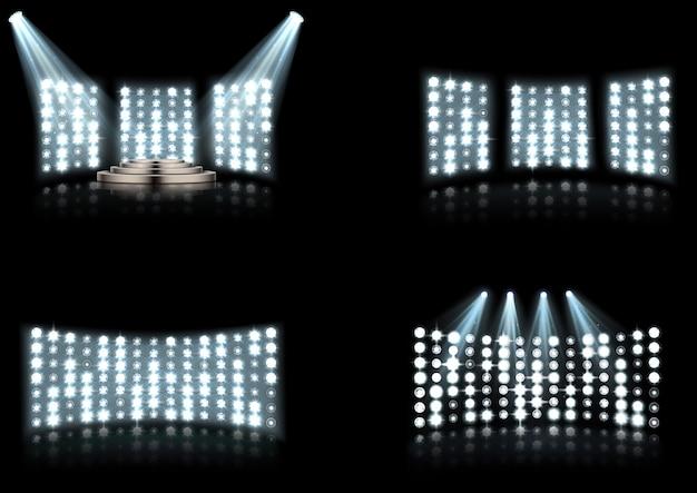 Conjunto de holofotes de iluminação brilhante estádio arena Vetor Premium