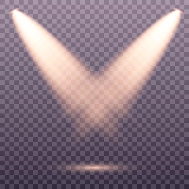Conjunto de holofotes dourados isolado. luzes quentes amarelas ... efeito de luz conjunto de focos isolados de vetor. luz do palco. Vetor Premium