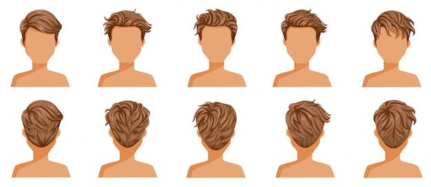 Conjunto de homem de cabelo soprado. cabelo curto soprado de macho. Vetor Premium