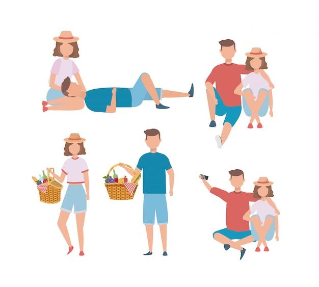 Conjunto de homens e mulheres casal com comida dificultar Vetor grátis