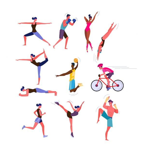 Conjunto de homens e mulheres praticando esportes Vetor grátis