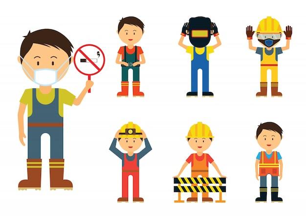 Conjunto de homens que mostram usar proteção na área da indústria por segurança, Vetor Premium