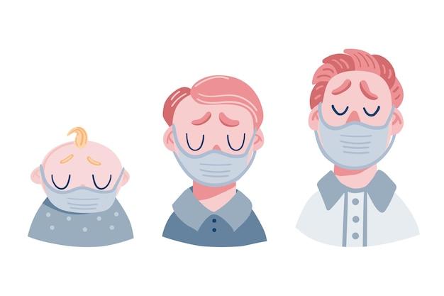 Conjunto de homens tristes em máscara médica. chefes de adolescentes, bebês e adultos. Vetor Premium