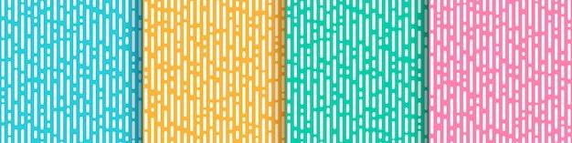 Conjunto de hortelã verde rosa amarelo abstrato e transição de linhas arredondadas verticais azul claro. Vetor Premium