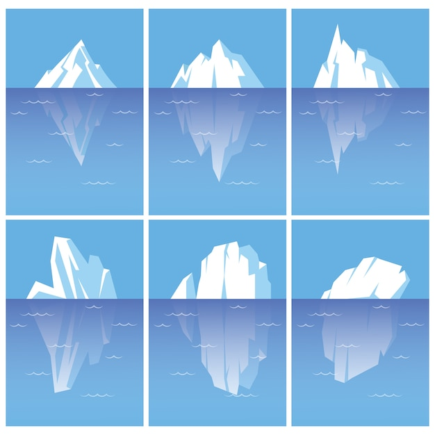 Conjunto de icebergs com parte subaquática. ilustrações de estilo plano isoladas no fundo branco. Vetor Premium