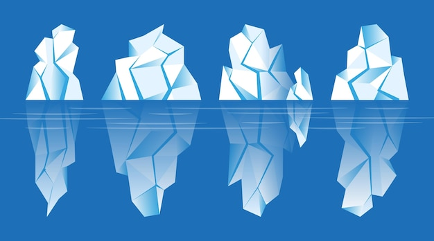 Conjunto de icebergs ilustrados no oceano Vetor grátis