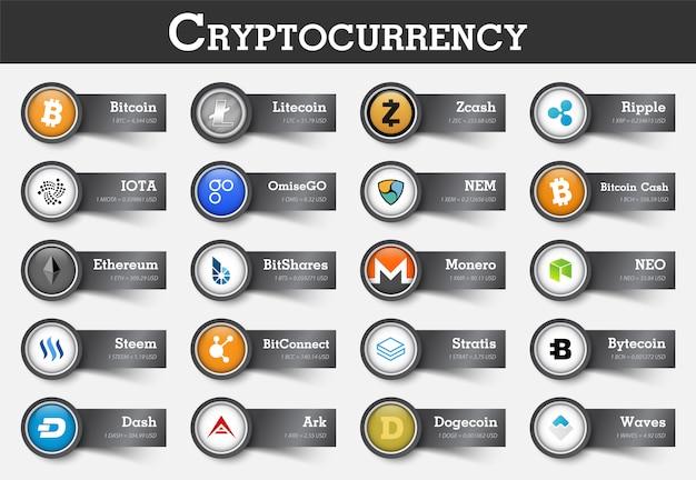 Conjunto de ícone de criptomoeda e etiqueta com valor Vetor Premium