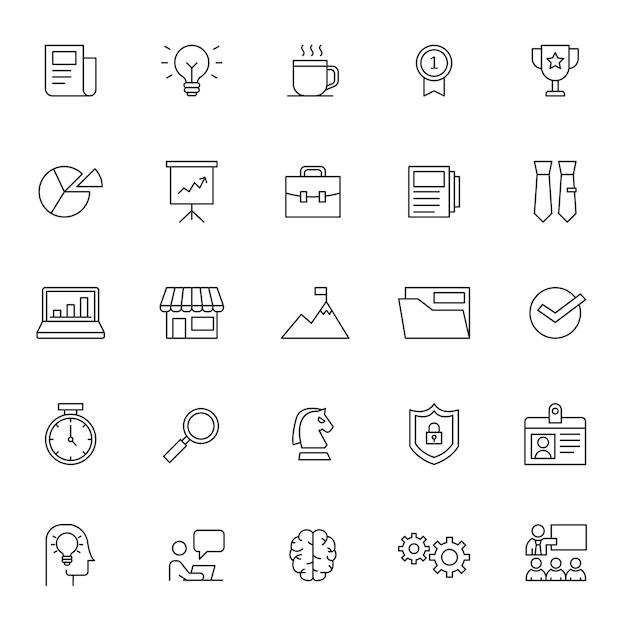 Conjunto de ícone de gestão de negócios Vetor Premium