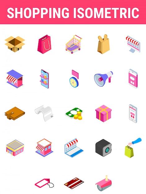 Conjunto de ícone isométrica de compras. Vetor Premium