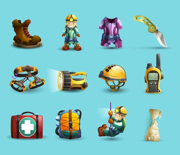 Conjunto de ícones 3d de espeleologia Vetor grátis